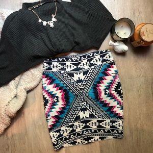 Size M Tribal Print Bodycon Skirt